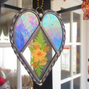 Stained Glass Heart Ornament w/ Dried Flowers